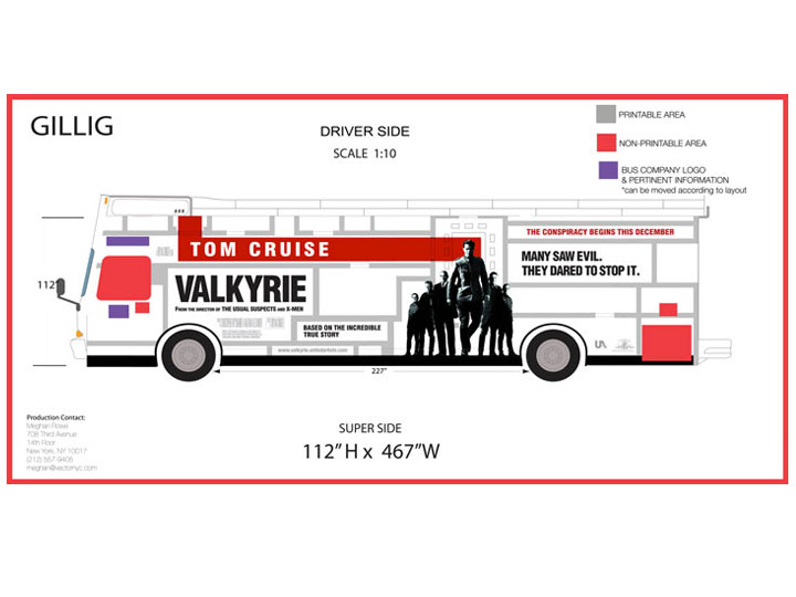 Production of Valkyrie king bus wrap.